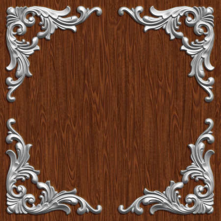 wood carving 3d: 3d swirl floral luxury background decorative ornament frame.