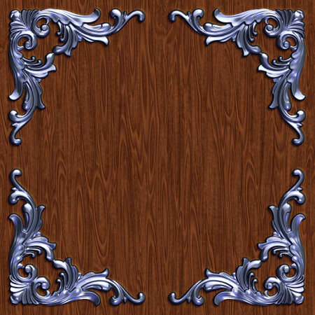 wood carving 3d: 3d swirl floral luxury background decorative ornament metal frame.