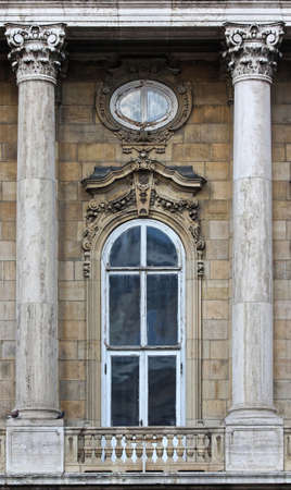 Budapest, Hungary, Buda castle district gothic windows.