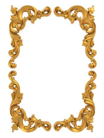 Gold vintage frame isolated on white