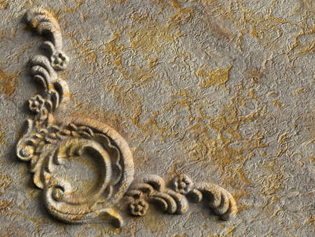 3d weathered floral ornament plaster.