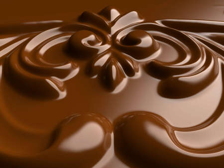close-up of brown chocolate ornamental pattern.