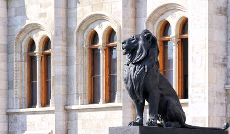 Hungary, Parliament in Budapest, statue of a lion.