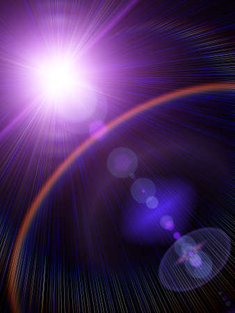Light lens flare effect with abstract forms overlay on dark background. Stock Photo