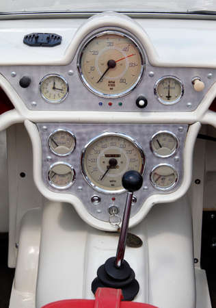 Oldtimer dashboard of a classic car from the 1960's.