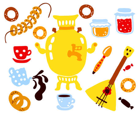 Maslenitsa or Shrovetide. Maslenitsa is a Russian religious and folk holiday Carnival. A set of elements of Maslenitsa: samovar, balalaika, jam, pretzels, bagels, tea, sweets. Hand-draw style Illustration