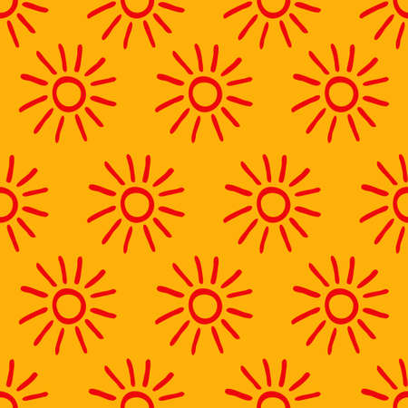 Seamless pattern with hand drawn doodle suns on yellow background