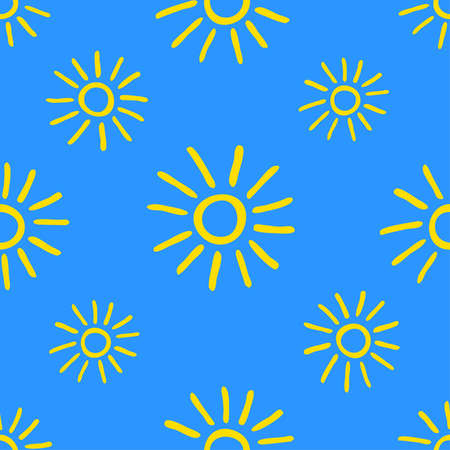 Seamless pattern with hand drawn yellow doodle suns on blue background.  イラスト・ベクター素材