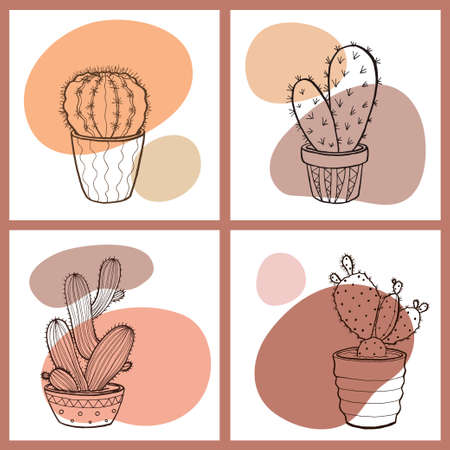 A set of four stylish cards with cactus outlines and spots in trendy colors. Cartoon style vector illustration of house plants. Design elements for sticker, card, print or poster.