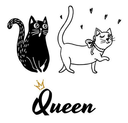 Queen. Cat seductress and cat in love