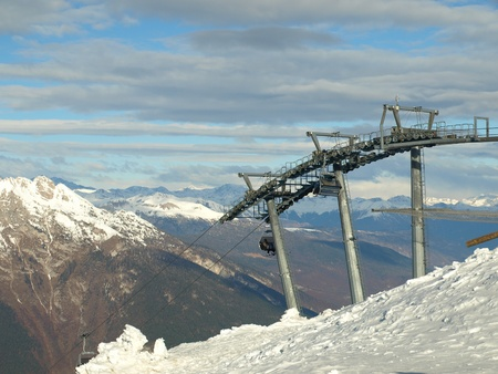 station ski: Station of ropeway. Ski resort. Italian Mountains.