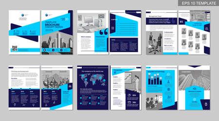 Conception créative de brochure. Modèle polyvalent, comprend les pages de couverture, de dos et d'intérieur. Design géométrique plat minimaliste à la mode. Format a4 vertical.