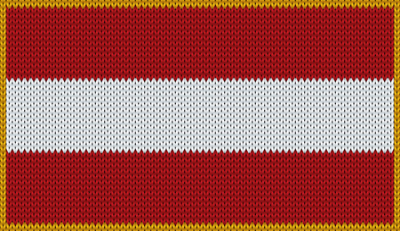 knitwear: Design of knitted badge of Austria - AUT, AT - flag. National Japanese flag of knitwear fabric pattern.
