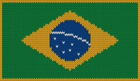 br: Design of knitted badge of Brazil - BR, BRA - flag. National Brazilian flag of knitwear fabric pattern. Illustration