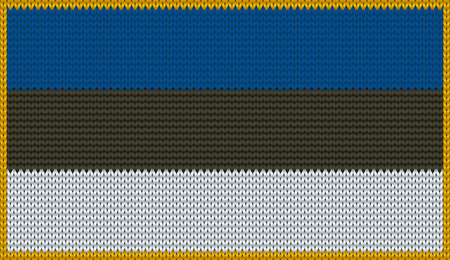 ee: Design of knitted badge of Estonia - EE, EST - flag. National Estonian flag of knitwear fabric pattern.