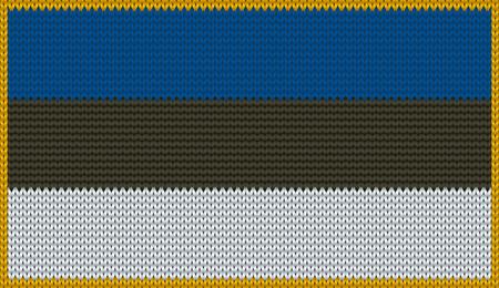knitwear: Design of knitted badge of Estonia - EE, EST - flag. National Estonian flag of knitwear fabric pattern.
