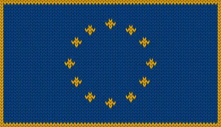 knitwear: Design of knitted badge of European Union - EU - flag of knitwear fabric pattern. Illustration
