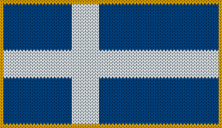 made in finland: Design of knitted badge of Finland - FI, FIN - flag. National Finnish flag of knitwear fabric pattern.