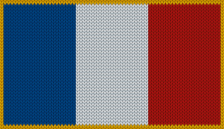 knitwear: Design of knitted badge of France - FR, FRA - flag. National French flag of knitwear fabric pattern.