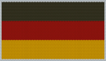 dutch flag: Design of knitted badge of Germany - DE, GER - flag. National German - Dutch - flag of knitwear fabric pattern.