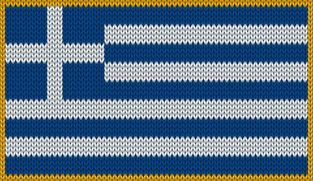 knitwear: Design of knitted badge of Greece - GR, GRE - flag. National Greek flag of knitwear fabric pattern.