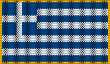 Design of knitted badge of Greece - GR, GRE - flag. National Greek flag of knitwear fabric pattern.