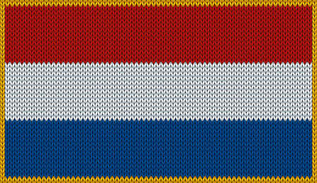Design of knitted badge of Netherlands - Holland, NL, NED - flag. National Netherlandish - Dutch - flag of knitwear fabric pattern.