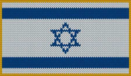 knitwear: Design of knitted badge of Izrael - IL, IZR - flag. National Izraeli flag of knitwear fabric pattern.