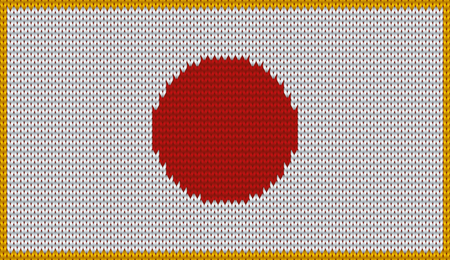 knitwear: Design of knitted badge of Japan - JP, JPN- flag. National Japanese flag of knitwear fabric pattern. Illustration