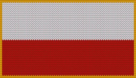 polish flag: Design of knitted badge of Poland - PL, POL - flag. National Polish flag of knitwear fabric pattern.