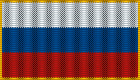 rus: Design of knitted badge of Russian Federation - Russia, RF, RUS, RU - flag. National Russian flag of knitwear fabric pattern.