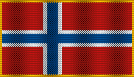norwegian flag: Design of knitted badge of Norway - NO, NOR - flag. National Norwegian flag of knitwear fabric pattern. Vector illusration about national patriotic symbols.