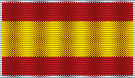 esp: Design of knitted badge of Spain - ES, ESP - flag. National Spanish flag of knitwear fabric pattern.