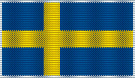 clothing label: Design of knitted badge of Sweden - SWE, SW - flag. National Swedish flag of knitwear fabric pattern.