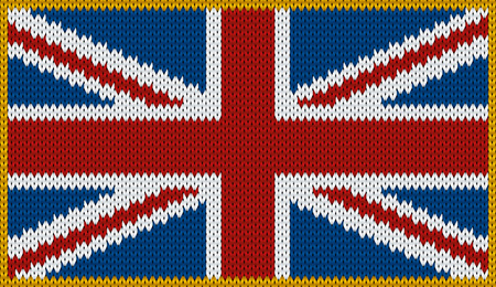 knitwear: Design of knitted badge of Great Britain - United Kingdom, UK, GB, GBR - flag. National British flag of knitwear fabric pattern. Illustration