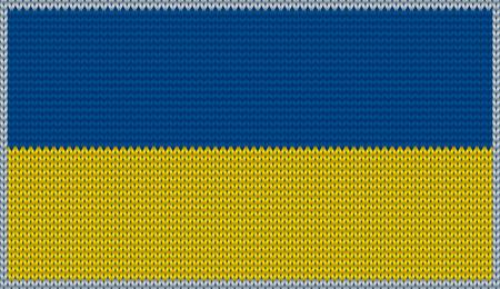 knitwear: Design of knitted badge of Ukraine - UKR, UA - flag. National Ukrainian flag of knitwear fabric pattern.