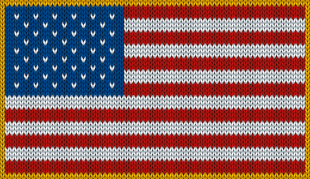 knitwear: Design of knitted badge of United States Of America - USA - flag. National american flag of knitwear fabric pattern.