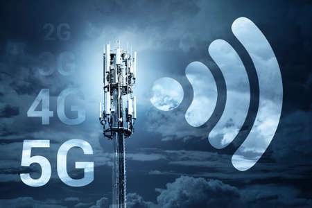 5G Szybka prędkość Bezprzewodowa komunikacja z Internetem Koncepcja technologii mobilnej komunikacji
