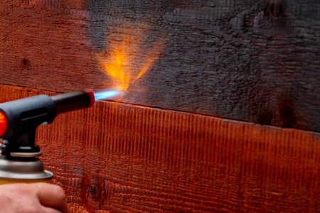 Wood firing using the old Japanese method 免版税图像