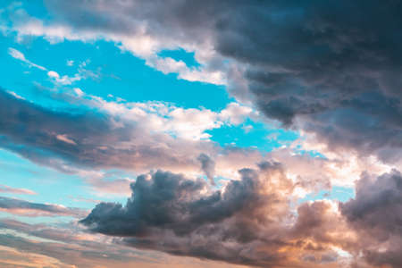 Beautiful dramatic clouds in the evening sky