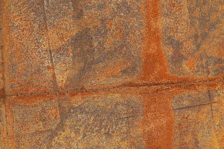 Grunge surface of a rusted sheet of metal, background, texture