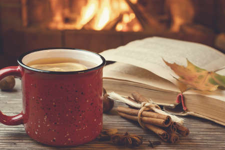 Roter Becher mit heißem Tee und einem offenen Buch vor einem brennenden Kamin, Komfort, Entspannung und Wärme des Herdkonzepts Standard-Bild