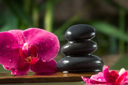 Black zen stones and pink orchids on a wooden plank on the surface of the water. SPA, relaxation, meditation concept Stok Fotoğraf