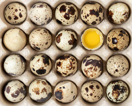 Quail eggs in cardboard packaging on a wooden table, texture
