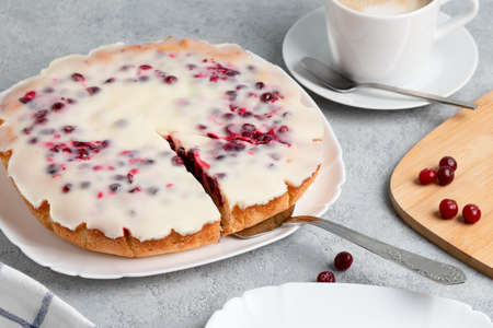 Homemade cake with cranberries and sour cream. Sweet pastries
