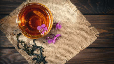 Herbal tea made from fireweed known as blooming sally in cup, top view, copy space Banque d'images