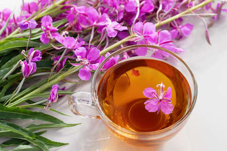 Fireweed herb known as blooming sally and tea in a cup.