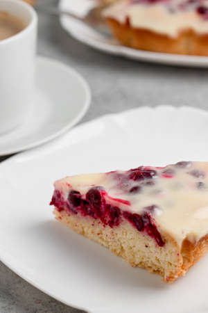 Homemade cake with cranberries and sour cream. Piece of pie close up. Vertical image. Banque d'images