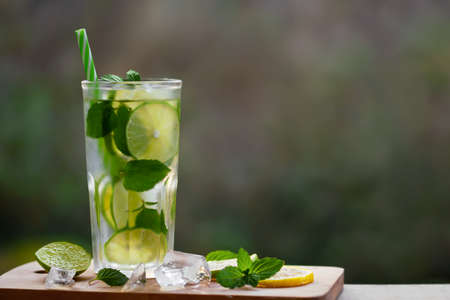 Cold refreshing homemade lemonade with mint, lemon and lime in a glass, copyspace