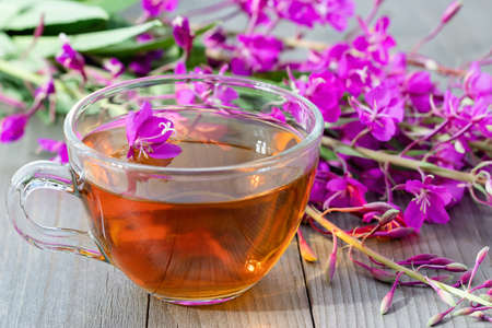 Fireweed herb known as blooming sally and tea in a cup Banque d'images